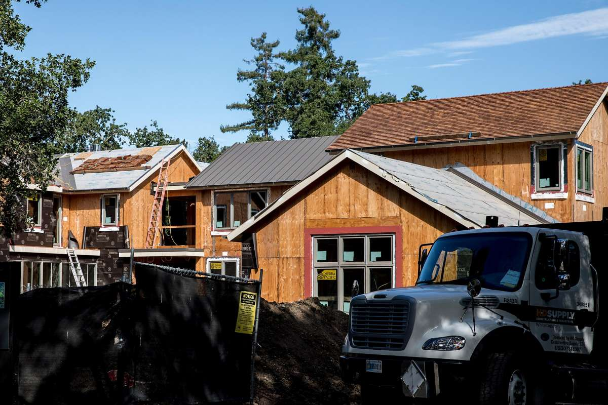 A large home is seen under construction in hyper-expensive Atherton in July.